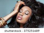 beautiful dark model with... | Shutterstock . vector #375251689