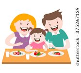 happy family   a family dinner  ... | Shutterstock .eps vector #375267139