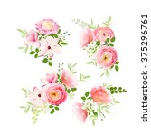 wedding bouquets of fresh roses ... | Shutterstock .eps vector #375296761