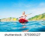 woman exploring calm tropical... | Shutterstock . vector #375300127