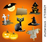 beautiful halloween icon set | Shutterstock .eps vector #37530829