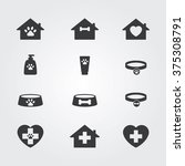 Stock vector pets icons set for vet pet shop pet house and pet clinic 375308791