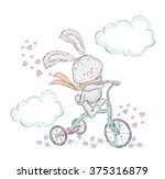cute hare on a bicycle. bunny... | Shutterstock .eps vector #375316879
