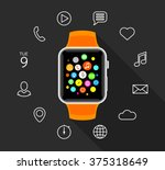 modern orange smartwatch with... | Shutterstock .eps vector #375318649