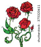 red roses illustration. three... | Shutterstock . vector #375320611