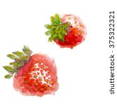 watercolor and strawberry leaf. ... | Shutterstock . vector #375322321