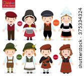 kids in different traditional... | Shutterstock .eps vector #375334324
