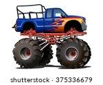 vector cartoon monster truck... | Shutterstock .eps vector #375336679