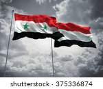 syria   yemen flags are waving... | Shutterstock . vector #375336874