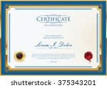 vector certificate or diploma... | Shutterstock .eps vector #375343201