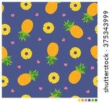 pineapples seamless vector... | Shutterstock .eps vector #375343999
