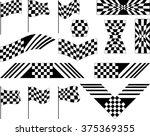 race flag set various designs ... | Shutterstock . vector #375369355