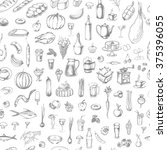 hand drawn elements of food.... | Shutterstock .eps vector #375396055