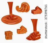 flow  pouring sweet caramel... | Shutterstock .eps vector #375398761