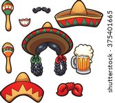 mexican party props. vector... | Shutterstock .eps vector #375401665