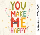 vector valentine card with an... | Shutterstock .eps vector #375413401