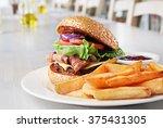 hamburger with beef meet ... | Shutterstock . vector #375431305