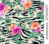 Tropical Flower Print Over...