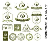 green tea labels and badges... | Shutterstock .eps vector #375439579