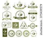 green tea labels and badges... | Shutterstock .eps vector #375439579
