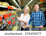 happy adult customers with... | Shutterstock . vector #375459577