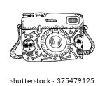 retro camera with skull and... | Shutterstock .eps vector #375479125
