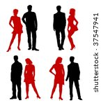 young adults couple silhouettes ... | Shutterstock . vector #37547941