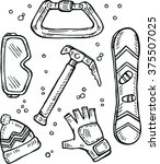 mountain equipment icons set.... | Shutterstock .eps vector #375507025