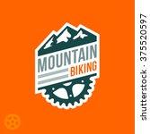 mountain biking badge logo with ...   Shutterstock .eps vector #375520597