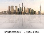 empty floor and cityscape at... | Shutterstock . vector #375531451