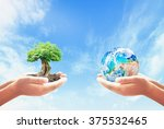 go green concept  two human...   Shutterstock . vector #375532465