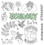 ecology doodle set with leaves  ... | Shutterstock .eps vector #375543337