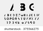 black alphabetic fonts and... | Shutterstock .eps vector #375566275