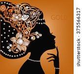silhouette of beautiful woman...   Shutterstock .eps vector #375566317