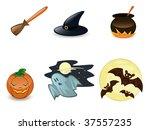 Halloween icon set on white background - stock vector