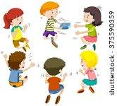 group of kids passing present... | Shutterstock .eps vector #375590359