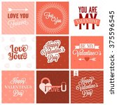 vector valentine s day set ... | Shutterstock .eps vector #375596545