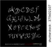 alphabet   number   handwriting ... | Shutterstock .eps vector #375602107