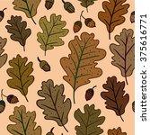 seamless pattern with oak...   Shutterstock .eps vector #375616771
