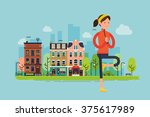 urban yoga. vector sport young... | Shutterstock .eps vector #375617989