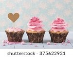 cupcakes with heart cakepick... | Shutterstock . vector #375622921