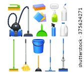 cleaning equipment and... | Shutterstock .eps vector #375624271