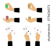 hand with playing cards and... | Shutterstock . vector #375626071