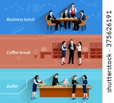 business lunch coffee break and ... | Shutterstock .eps vector #375626191