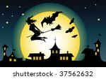 witch flying over a town | Shutterstock .eps vector #37562632