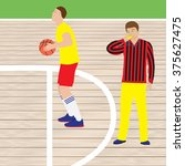 basketball player and referee... | Shutterstock .eps vector #375627475