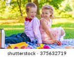 portrait of children on a... | Shutterstock . vector #375632719