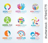 kids child logo vector set... | Shutterstock .eps vector #375642775