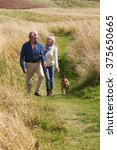 Stock photo senior couple taking dog for walk in countryside 375650665