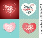 four happy valentines day hand... | Shutterstock .eps vector #375656611